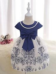Девичий Платье Хлопок Полиэстер Сатин Цветок С короткими рукавами