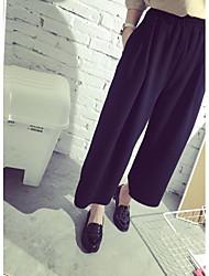 Feminino Simples Cintura Alta Micro-Elástica Chinos Calças,Perna larga