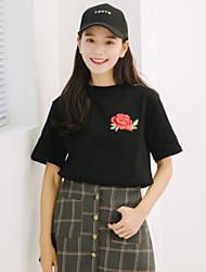 Damen Blumen Niedlich Normal T-shirt,Rundhalsausschnitt Halbe Ärmel 98% Baumwolle 2% Spendex