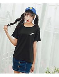 Damen Stickerei Niedlich Ausgehen T-shirt,Rundhalsausschnitt Sommer Kurzarm Baumwolle
