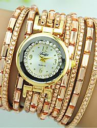 Жен. Часы-браслет Кварцевый Стразы Цветной Кожа Группа Повседневная Белый Синий Красный Коричневый Розовый Бежевый Роуз