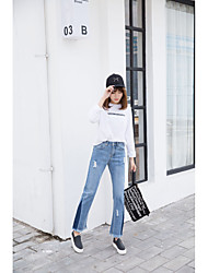 Women's High Rise Micro-elastic Jeans Pants,Cute Loose Straight Solid