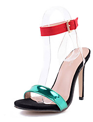Damen Sandalen Lackleder Sommer Schnalle Stöckelabsatz Grün 10 - 12 cm