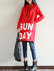 Women's Casual/Daily Simple Spring T-shirt,Letter Hooded Long Sleeve Cotton