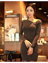 Women's Casual/Daily Bodycon Dress,Solid Round Neck Mini Long Sleeve Cotton Summer Fall Mid Rise Micro-elastic Medium