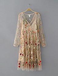 Damen Lose Etuikleid Kleid-Ausgehen Lässig/Alltäglich Einfach Street Schick Stickerei V-Ausschnitt Midi Langarm Seide BaumwolleSommer