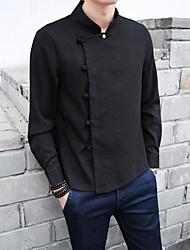 Masculino Camisa Social Casual SimplesPoá Algodão Gola Redonda Manga Longa