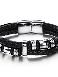 Муж. Кожаные браслеты Панк Хип-хоп Rock бижутерия Мода Винтаж Кожа Нержавеющая сталь Круглый Круглой формы Геометрической формы Бижутерия
