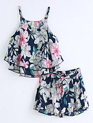 Girls' Print Sets,Cotton Summer Sleeveless Clothing Set