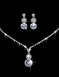 Women's Drop Earrings Choker Necklaces Bridal Jewelry Sets Fashion Elegant Silver Cubic Zirconia Jewelry Sets For Wedding Party