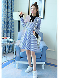 Women's Casual/Daily Simple A Line Dress,Striped Shirt Collar Above Knee Long Sleeve Polyester Summer High Rise Inelastic Thin