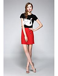 Mujer Cosecha Chic de Calle Sofisticado Noche Fiesta/Cóctel Vacaciones Primavera Verano T-Shirt Falda Trajes,Escote RedondoEstampado