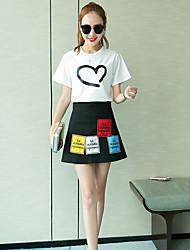 Women's Dailywear Magnetic Cat Eye Summer T-shirt Skirt Suits,Solid Round Neck Short Sleeve