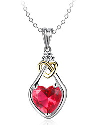 Thanksgiving Jewelry Pendant Necklaces Love Heart Ruby Women's Girls' Choker Chain Dangling Gift