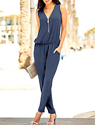 Femme simple Style classique Taille Haute Décontracté / Quotidien Soirée Vacances Combinaison-pantalon,Mince Couleur unie Sexy Vacances