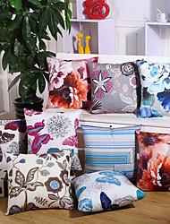 1 pcs Coton/Lin Housse de coussin Taie d'oreiller,Fleur Nouveauté Euro Moderne/Contemporain Décontracté Traditionnel/Classique