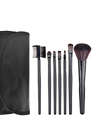 7pcs Black Makeup Brush Set Blush Brush Eyeshadow Brush Eyeliner Brush Eyelash Brush dyeing Brush Powder Brush Sponge Applicator Synthetic Hair