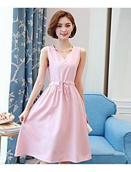 Для женщин На каждый день С летящей юбкой Платье Однотонный,V-образный вырез Средней длины Без рукавов Хлопок Лето Со стандартной талией
