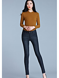 Women's High Rise strenchy Skinny Pants,Street chic Skinny Solid