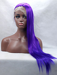 Silky Long Straight Purple Fiber Hair Half Hand Tied Heat Resistant Synthetic Lace Front Wigs Free Shipping