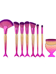 8Pcs Pink Fish Shape Makeup Fan Brush Professional Mermaid Soft Eye Cosmetics Beauty Make Up Brushes Set Kabuki Kit Maquiagem