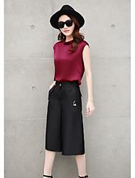 Damen Solide Einfach Lässig/Alltäglich T-shirt,Rundhalsausschnitt Sommer Ärmellos Baumwolle