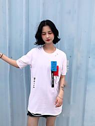 Damen Druck Einfach Lässig/Alltäglich T-shirt,V-Ausschnitt Kurzarm Baumwolle