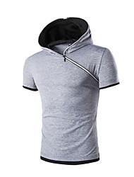 Tee-shirt Homme,Couleur Pleine Décontracté Vêtements de Plein Air Sport de détente simple Actif Manches Courtes Capuche Coton