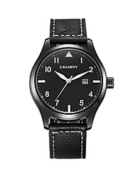 GACARNY 6862 Men's Casual Watch Japanese Quartz with Calendar Cool Leather Band Black Brown Khaki
