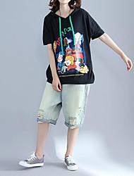 Damen Druck Niedlich T-shirt,Mit Kapuze Sommer Kurzarm Baumwolle
