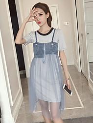 Mujer Rústico Realismo Diario Verano T-Shirt Falda Trajes,Escote Redondo Bloques Manga Corta