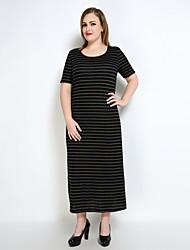 Damen Etuikleid T Shirt Tunika Kleid-Lässig/Alltäglich Urlaub Übergröße Sexy Retro Einfach Gestreift Rundhalsausschnitt Maxi Kurzarm