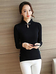 Damen Solide Chinoiserie T-shirt,Ständer Frühling Langarm Baumwolle Mittel