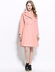 Women's Formal Magnetic Cat Eye All Seasons Coat,Solid Stand Long Sleeve Regular Cotton