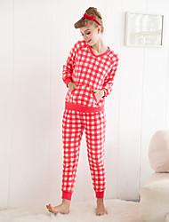Estilo clásico o cuello flanela pijama conjunto