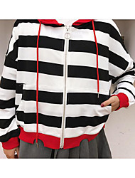 Women's Casual/Daily Street chic Fall Jacket,Solid Striped Hooded Long Sleeve Regular Cotton Linen Mesh