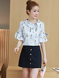 Women's Daily Others Spring Summer Shirt Skirt Suits,Striped Crew Neck Half Sleeve