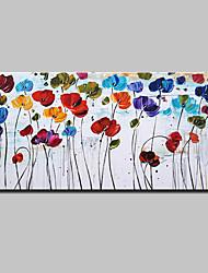 Ручная роспись Цветочные мотивы/ботанический Горизонтальная,Modern Европейский стиль 1 панель Холст Hang-роспись маслом For Украшение дома