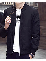 Men's Casual/Daily Simple Spring Jacket,Solid Round Neck Long Sleeve Regular N/A