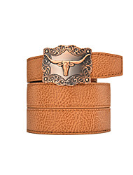 Men's White Solid Buckle with Automatic Ratchet Leather Belt 30mm Wide 1 3/8