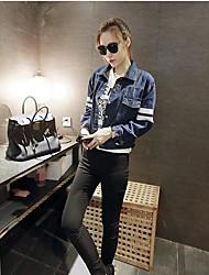 Feminino Jaqueta jeans Colarinho Chinês