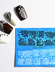48 Pcs/set Water Solid 3D Cartoon Black and White Lace Watermark Hollow Lace Nail Decals