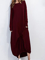 Ample Robe Femme Décontracté / Quotidien simple,Couleur Pleine Col Arrondi Maxi Manches Longues Coton Eté Taille Normale Non Elastique Fin