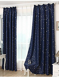 Summer StyleFashion Window Curtains Solid Finished products Blackout Curtains for Dining Room/Kitchen Stars Navy Blue