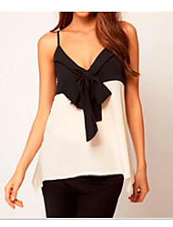 Women's Casual/Daily Simple Blouse,Patchwork Strap Sleeveless Cotton