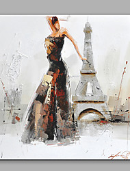 Abstract Oil Painting The Beautiful Girl Dancing Before The Eiffel Tower Framed Handmade Oil Painting For Home Decoration