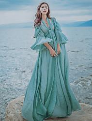 Feminino balanço Vestido Vintage Simples Sólido Decote em V Profundo Longo Meia Manga Linho Primavera Verão Cintura Alta Micro-Elástica