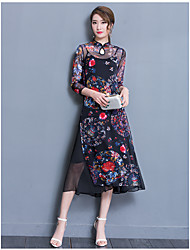 Women's Daily Bodycon Dress,Floral Print High Neck Midi 3/4 Length Sleeve Polyester Summer Low Rise Micro-elastic Medium