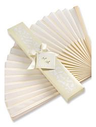 White Box Asian Silk Fan Wedding Ceremony Guest Favors Bridesmaids / Bachelorette / Bride Bomboniere