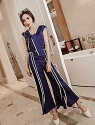 Chemise Pantalon Costumes Femme,Couleur Pleine Rayé Soirée / Cocktail Chic & Moderne Eté Sans Manches Col Arrondi